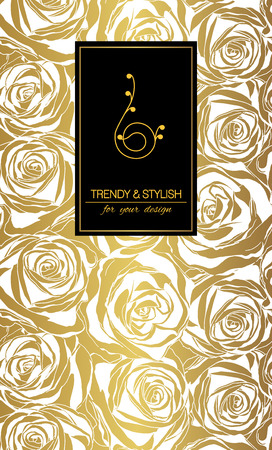 gold floral: Elegant floral card with roses and place for text. Flowers on gold background. Vector illustration.