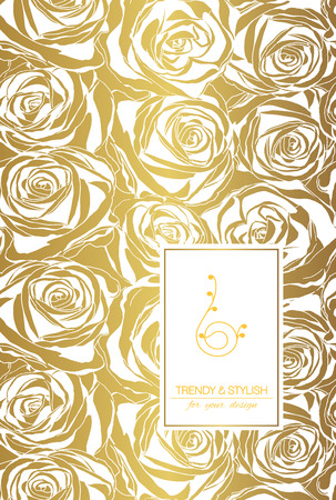 beautiful flower: Elegant floral card with roses and place for text. Flowers on gold background. Vector illustration.