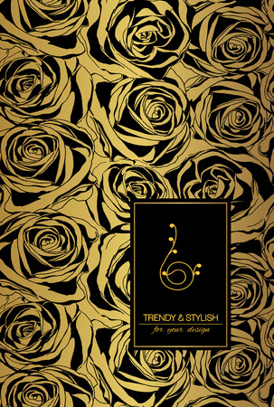 Elegante bloemen kaart met rozen en plaats voor tekst. Bloemen op gouden achtergrond. Vector illustratie.