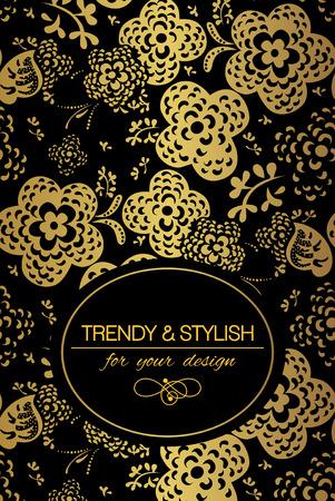 fondo elegante: Elegante tarjeta floral con adornos de encaje y el lugar de texto. Flores sobre fondo de oro. Ilustraci�n del vector.