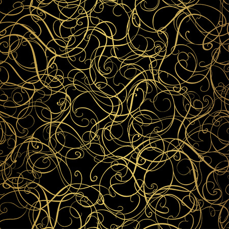 Golden curly pattern on black background. Vector illustration Фото со стока - 42914943