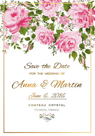 gray flower: Floral vector vintage invitation with pink roses.