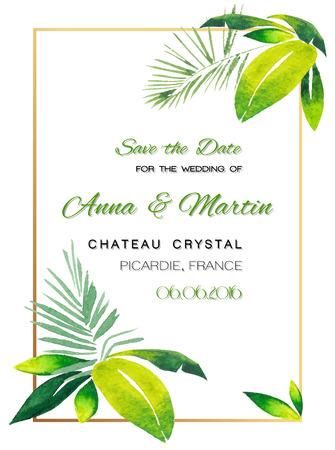 dattelpalme: Hochzeitseinladungskarte mit Tropical Aquarellentwurf. Vektor-Illustration.