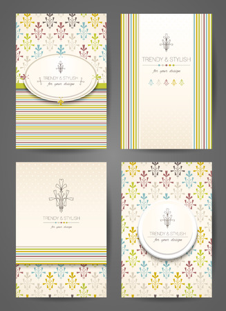 Set of brochures in vintage style. Creative cards. Vector design templates.