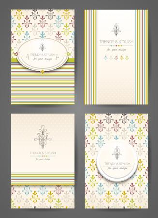 Set van brochures in vintage stijl. Creatieve kaarten. Vector design templates.