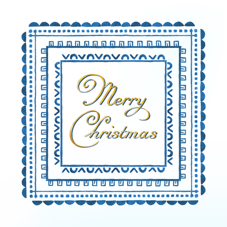 wishes: Watercolor gold frame with Merry Christmas calligraphy wishes Illustration
