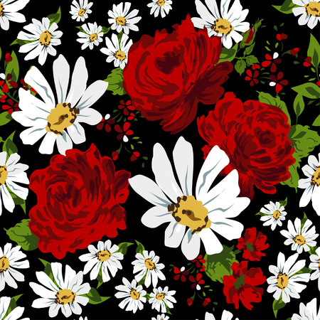 camomile flower: Beautiful seamless floral pattern background. Flower bouquets of red roses and camomile.