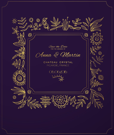 aristocratically: Gold ornate frame for invitations or announcements.