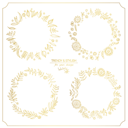 line work: Gold ornate frame for invitations or announcements.