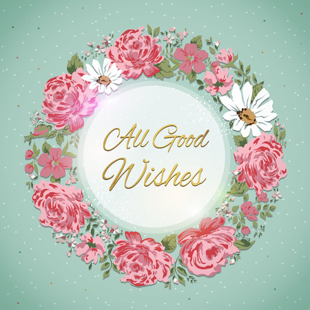 good wishes: Border of flowers with all good wishes text.  Vector illustration