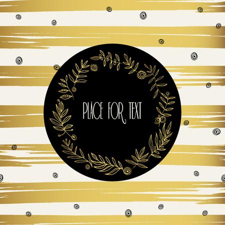 work popular: Vector design template with gold floral frame on stripe background