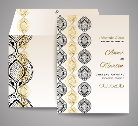 business event: Invitation or wedding card with abstract ornamental background.