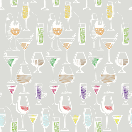 liquors: Hand drawn pattern of alcohol drinks and cocktails. Vector illustration Illustration