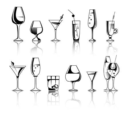 アルコール飲料、カクテルのセットです。ベクトル図