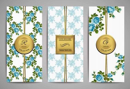 blue roses: Set of brochures with vintage blue roses. Floral background Illustration
