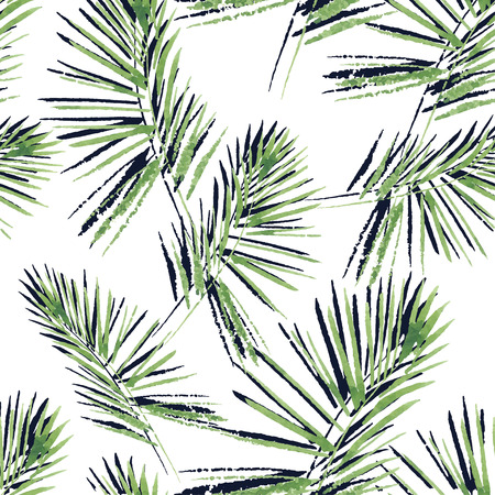 palm of hand: Palm leaves pattern. Seamless, hand painted, watercolor pattern.