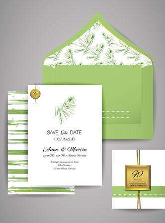 suite: Collection of Wedding invitation card suite with watercolor palm branch . Templates: invitation, save the date card.
