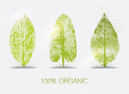 imprints: Organic leaves imprints icon set. Eco-icons. Illustration