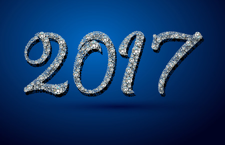 2017 Happy New Year background. Diamond background. Ideal for xmas card or elegant holiday party invitation. Stock Photo