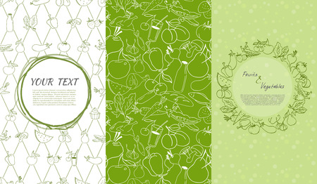 Hand drawn set of design elements. Seamless patterns and backgrounds for organic and healthy food packaging - green labels and emblems for vegetarian products.