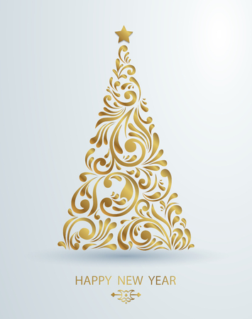 Stylized golden Christmas tree decoration made from swirl shapes. New Year design template. Illustration