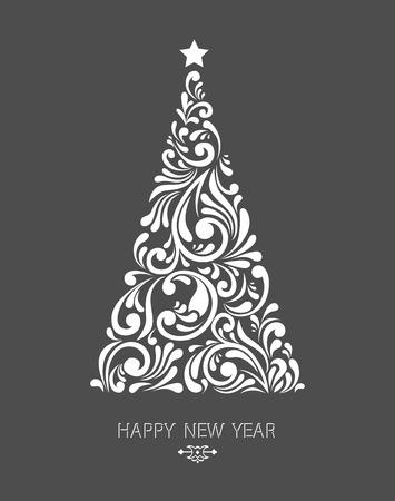 Gestileerde Kerst boom decoratie gemaakt van krul vormen. New Year design template. Stock Illustratie