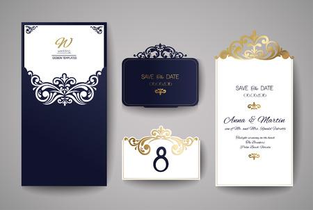 Wedding invitation or greeting card with gold floral ornament. Wedding invitation envelope for laser cutting. Vector illustration. Banco de Imagens - 70093591