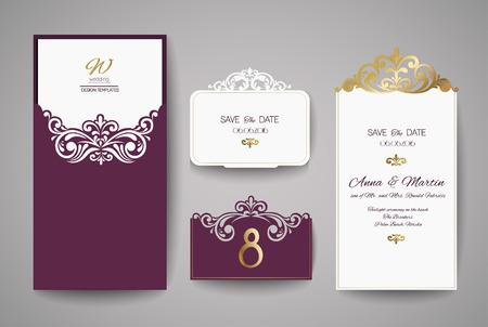 Laser gesneden bruiloft uitnodiging kaart sjabloon vector.
