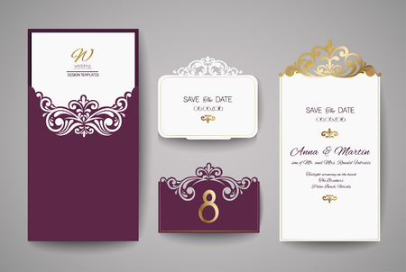 Laser cut wedding invitation card template vector.
