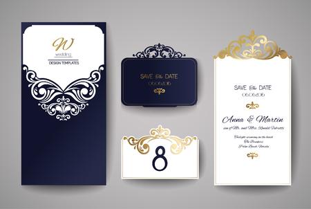 Bruiloft uitnodiging of wenskaart met gouden bloemenornament. Bruiloft uitnodiging envelop voor lasersnijden. Vector illustratie. Stock Illustratie