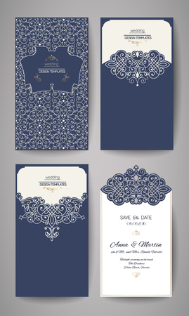 lazer: Wedding invitation or greeting card with gold floral ornament. Wedding invitation envelope for laser cutting. Vector illustration.