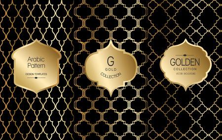 Gouden uitstekende patroon op zwarte achtergrond. Vector illustratie. Gouden abstract frame. Label set. Arabisch patroon. Stock Illustratie