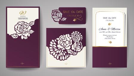 corte laser: Conjunto de boda Invitación floral. Plantilla para el corte por láser. Ilustración del vector. Foto de archivo