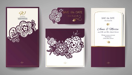 Set of Wedding Floral Invitation. Template for laser cutting. Vector illustration. Illustration