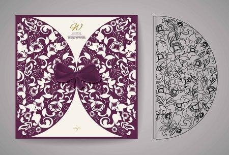 cutting: Laser Cut Invitation Card. Laser cutting pattern for invitation wedding card. Vector Illustration