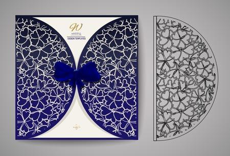 Invitation Card. Laser cutting pattern for invitation wedding card. Vector Stock Illustratie