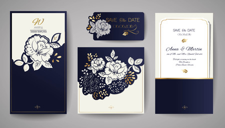 Set of wedding floral invitation template for laser cutting.