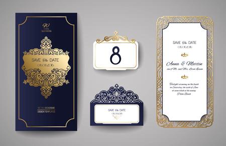 Conjunto de invitación de boda Vintage. Plantilla para el corte por láser. Ilustración del vector.