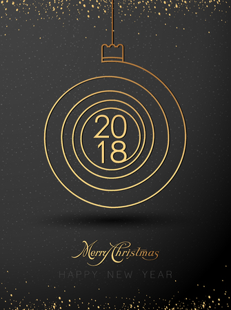 chrstmas: 2018 Merry Chrstmas and Happy New Year Background. Decorative spiral background for Christmas and the New Year greetings. Vector Illustration