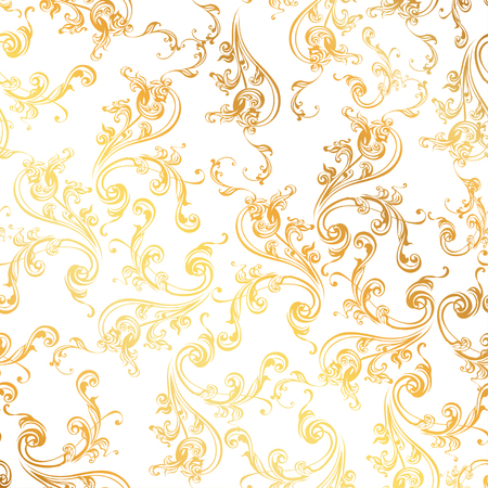 Floral pattern Wallpaper baroque, damask. borderless vector background in white and gold ornament.