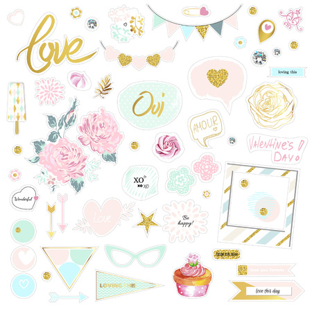 Set of cute pink and gold vector illustrations. Stickers pack for scrap booking. Flowers, sunglasses, diamonds, sweet, hearts. Refined chipboard design.