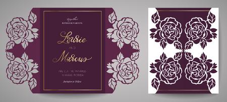 Blumenhochzeitseinladung. Vorlage zum Laserschneiden. Vektorillustration. Gestaltungselement zum Verzieren des Kuchens, Schablone zum Schneiden Vektorgrafik
