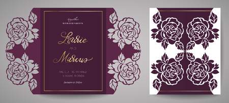 Floral Wedding Invitation. Template for laser cutting. Vector illustration. Design element to decorate the cake, template for cutting