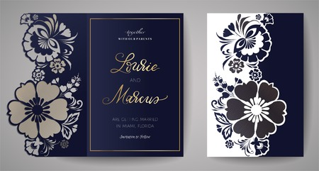 Wedding Floral Invitation. Template for laser cutting.