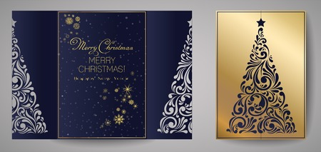 Laser cut template for Christmas cards, square invitation for party with Christmas tree cutout of paper.