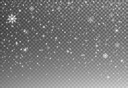 Christmas falling snow vector isolated on dark  with snowflakes.