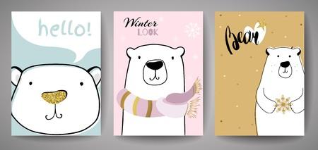Cute Polar Bear with Merry Christmas inscription.