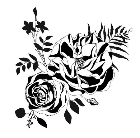 Black rose vector on white. Stock Illustratie