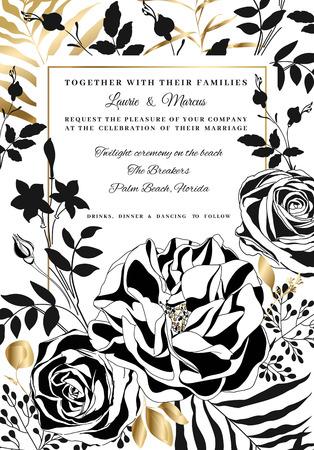 Vector  floral wedding invitation.