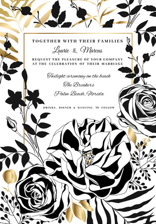 Vector  floral wedding invitation. 스톡 콘텐츠 - 118545118